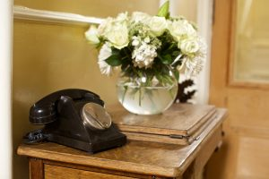 Telephone and flowers